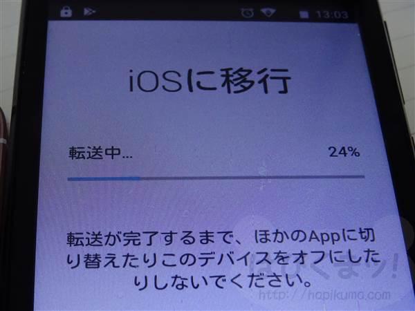 アプリMove to iOSでデータ移行中